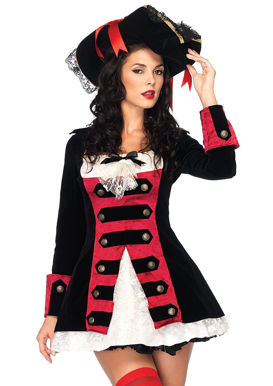 Leg Avenue Women's Charming Pirate Captain Layered Waistcoat Dress With Lace Accent Leg Avenue Costumes