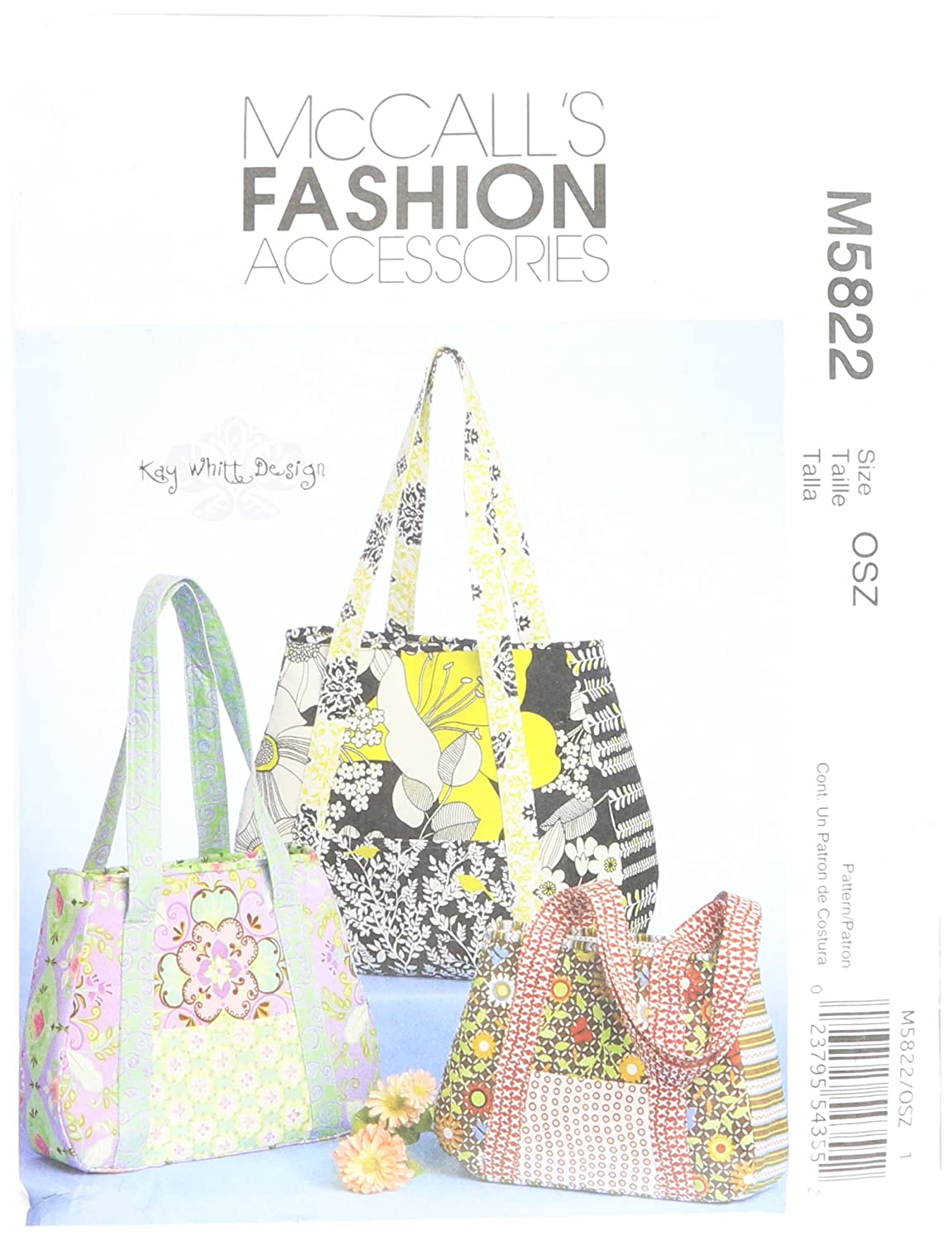 McCall's Patterns M5822 Tote Bag In 3 Sizes, One Size Only McCall Pattern Company M5822OSZ