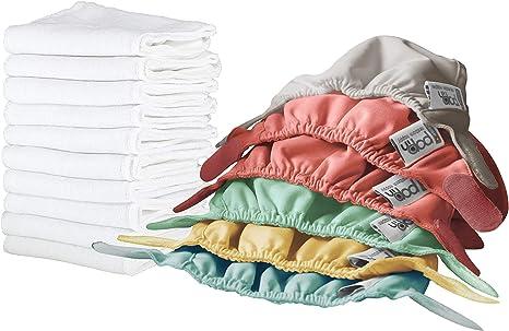 Close Pop-in Pañales Lavables de Tela- 6 Pcs Pañales Lavables de Viscosa de Bambú para Bebé, Pañales Ajustable y Reutilizable para Bebés con Bolsas de Almacenamiento, 48, Pastel, Pack de 16: Amazon.es: