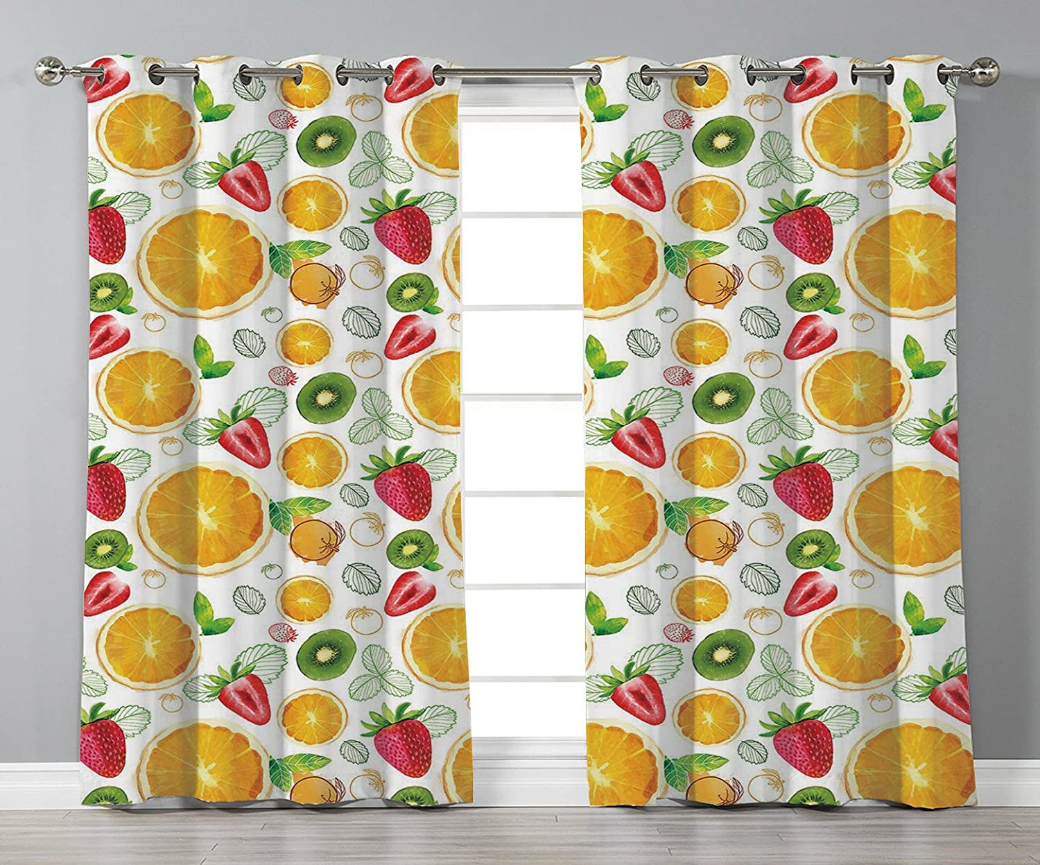 iPrint Stylish Window Curtains,Fruits,Citrus Kiwi Lemon Leaves Apricot Watermelon Fresh Exotic Kitchen,Earth Yellow Red Lime Green,2 Panel Set Window Drapes,for Living Room Bedroom Kitchen Cafe