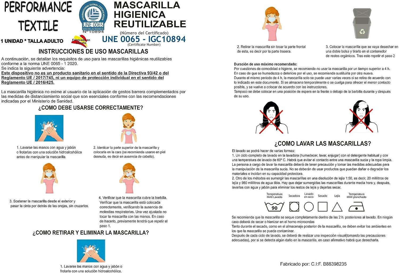 Mascarilla de Tela Homologada Reutilizable Bandera de España Vertical - Negra: Amazon.es: Ropa y accesorios
