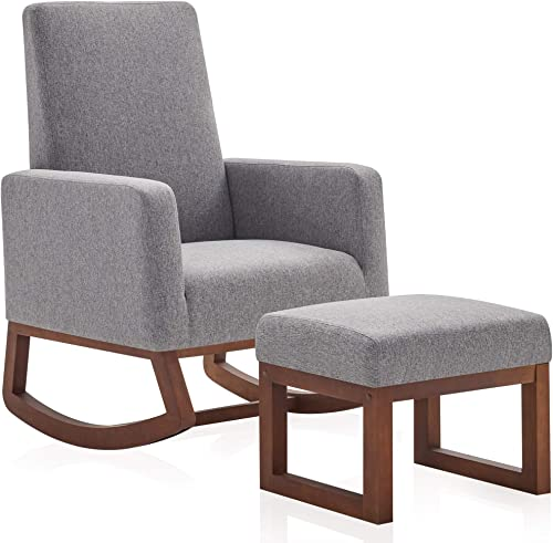 Editors' Choice: BELLEZE Modern Rocking Chair Upholstered Fabric High Back Armchair Padded Seat