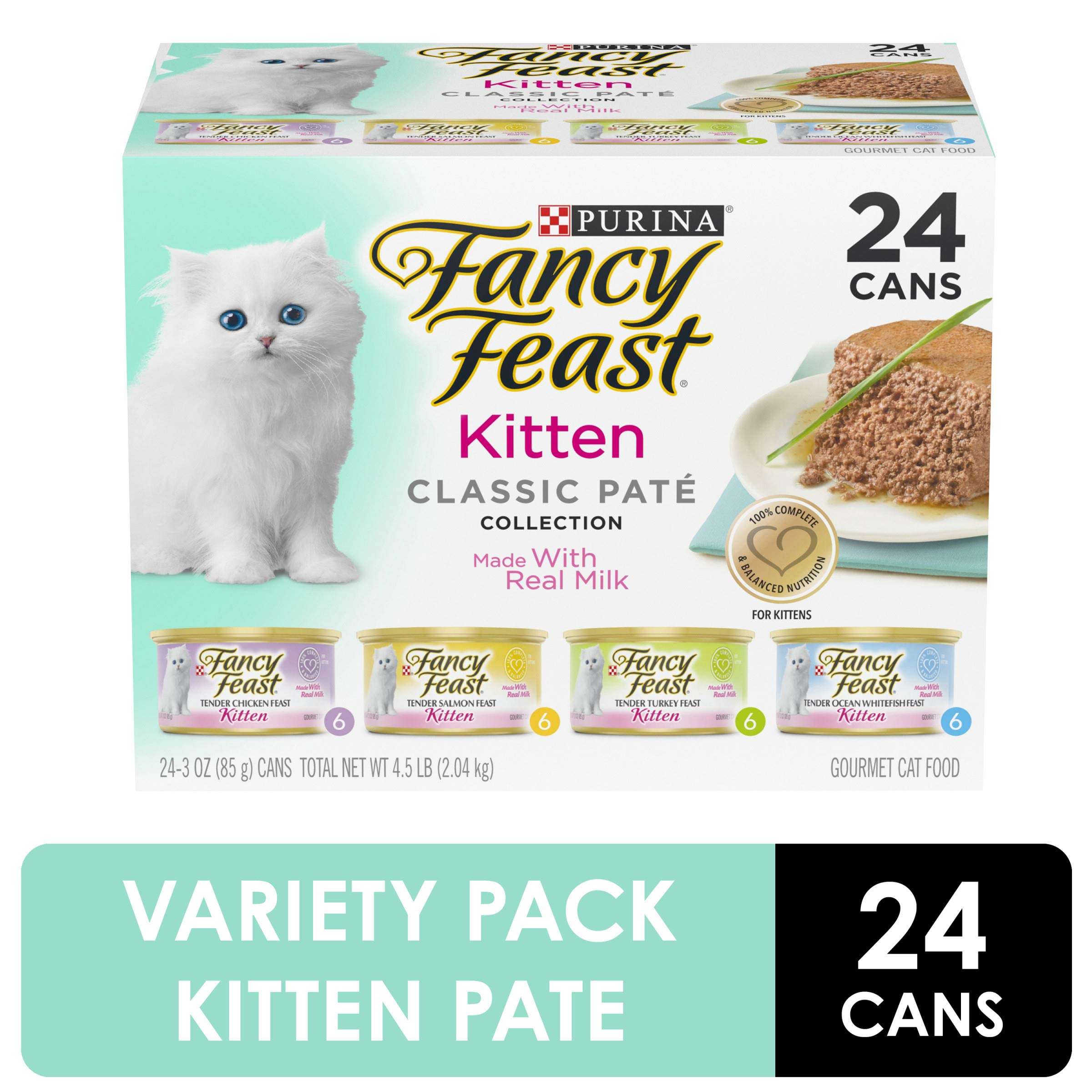 Purina Fancy Feast Grain Free Pate Wet Kitten Food Variety Pack, Kitten Classic Pate Collection, 4 flavors - (24) 3 oz. Boxes by Purina Fancy Feast