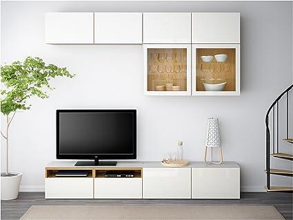 Zigzag Trading Ltd IKEA BESTA - TV por Efecto de Almacenamiento de combinación/Puertas de Vidrio Roble/selsviken Alto Brillo/de Vidrio Transparente Blanco: Amazon.es: Hogar
