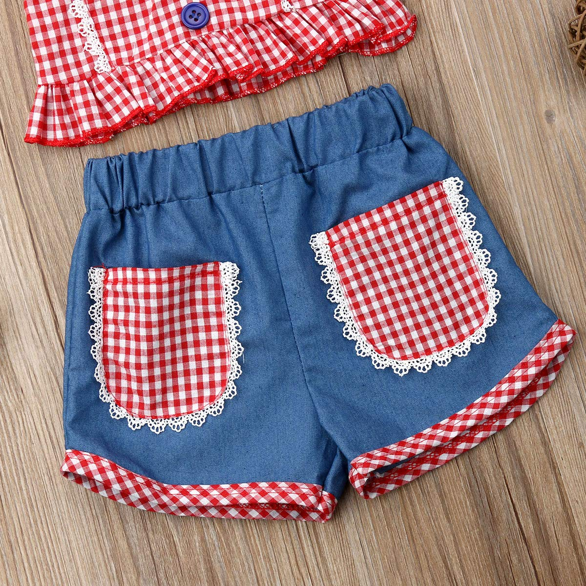 Infant Baby Girl Plaid Sleeveless Crop Top Denim Shorts Pant with Headband Clothes Set