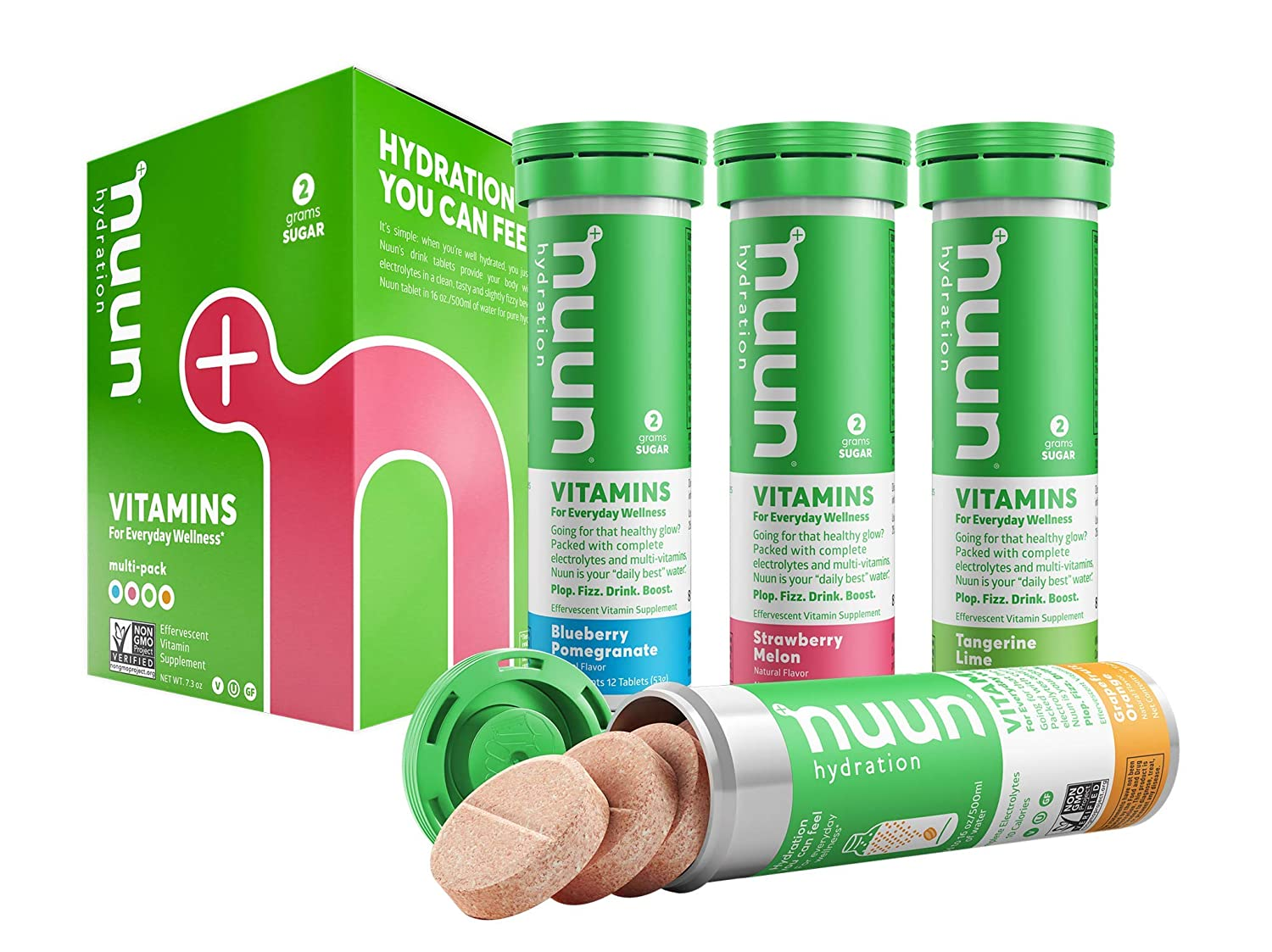 Nuun Hydration: Vitamin + Electrolyte Drink Tablets, Mixed Fruit Flavor  Pack, Box of 4 Tubes (48 servings),