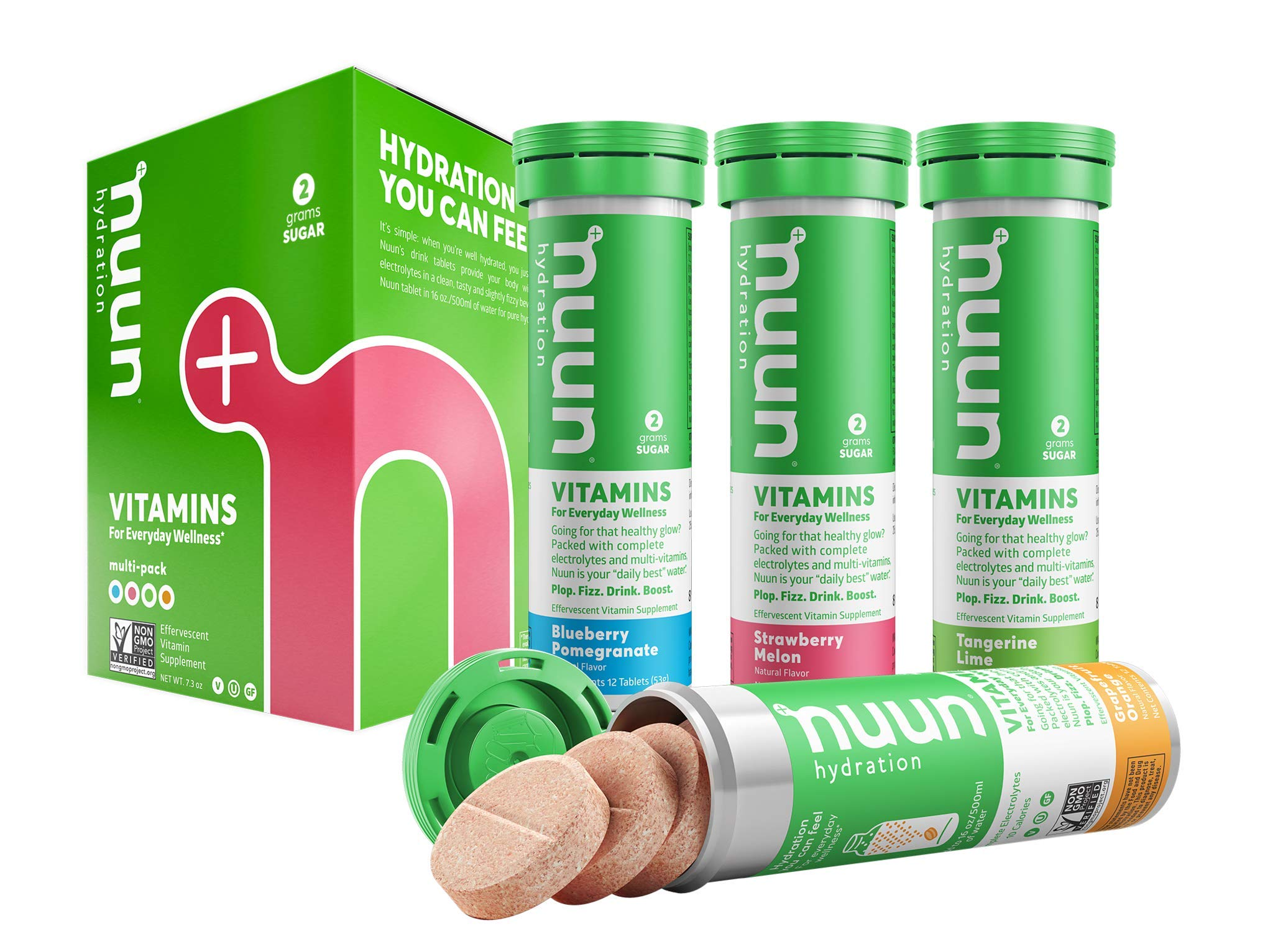 Nuun Hydration: Vitamin + Electrolyte Drink Tablets, Mixed Fruit Flavor Pack, Box of 4 Tubes (48 servings), Enhanced for Energy and Daily Health by Nuun