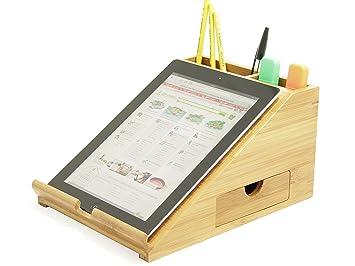 Support en bambou pour tablette ipad organisateur de bureau en