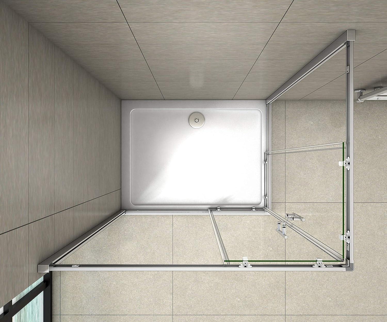 Cabine de douche 80x90x195cm en 6mm verre anticalcaire porte de douche coulissante lcc/ès dangle
