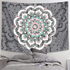 "Sunm Boutique Tapestry Wall Hanging Indian Mandala Tapestry Bohemian Tapestry Hippie Tapestry Psychedelic Tapestry Wall Decor Dorm Decor(Colorful,59.1""x 82.7"")"