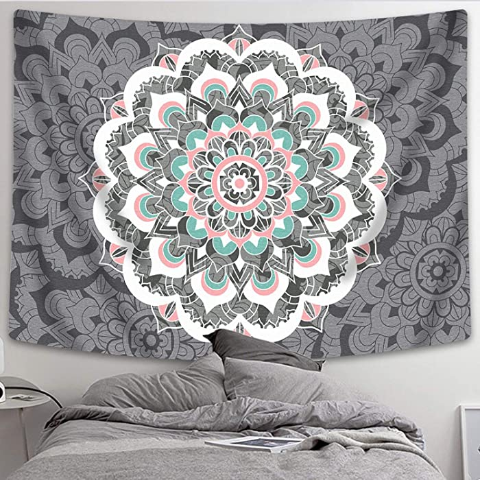 """Sunm Boutique Tapestry Wall Hanging Indian Mandala Tapestry Bohemian Tapestry Hippie Tapestry Psychedelic Tapestry Wall Decor Dorm Decor(Colorful,59.1""""x 82.7"""")"""