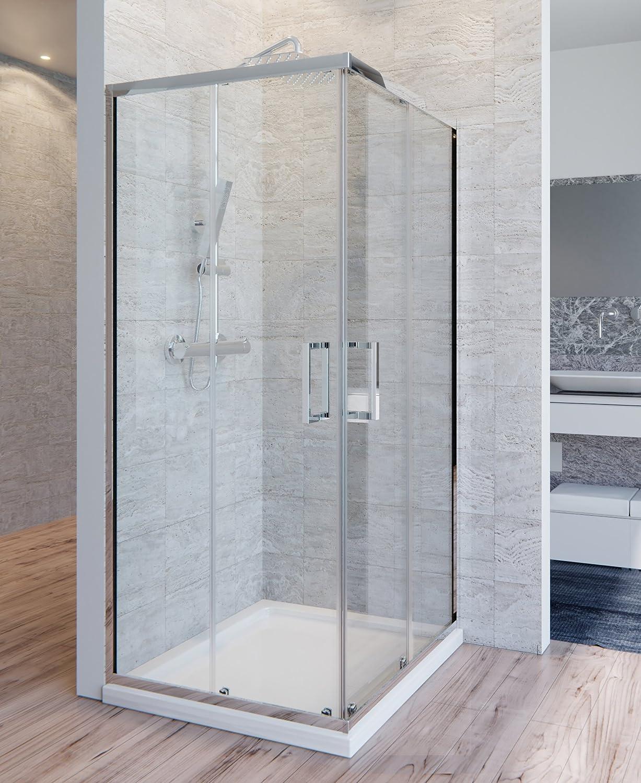Olimpo duchas Box ducha Adry transparente 90 x 90 6 mm H195 anti cal: Amazon.es: Bricolaje y herramientas
