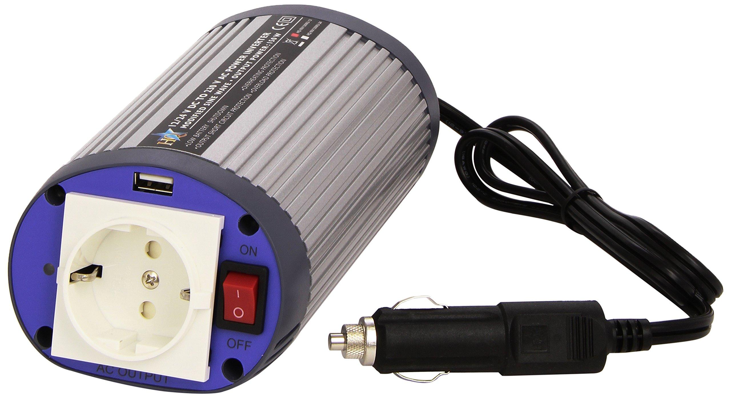 HQ - Inversor (150 W, 12 V-230 V, Puerto USB)