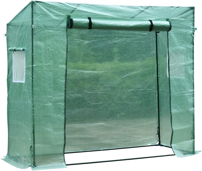 HOMCOM Invernadero de Jardín Exterior 200x77x170 cm Tubo de Acero 1 Puerta 2 Ventanas Tomates Semillero