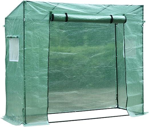 HOMCOM Invernadero de Jardín Exterior 200x77x170 cm Tubo de Acero 1 Puerta 2 Ventanas Tomates Semillero: Amazon.es: Jardín