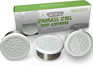 Stainless Steel Food Storage Containers - Leak Proof Dips Condiment Containers - Set of 3 - 7oz - Eco Friendly Lunch Containers - Silicone Lids - Portion Control - Reusable