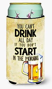 Caroline's Treasures BB5412TBC Start Drinking in the Morning Beer Tall Boy Beverage Insulator Hugger, Tall Boy, multicolor