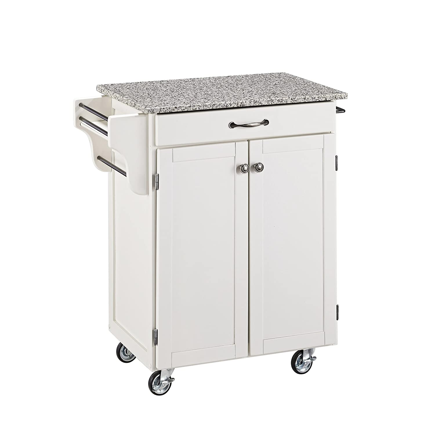 Create-a-cart White Kitchen Cart with Granite Top by Home Styles