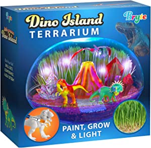 Little Growers Dinosaur Terrarium Kit for Kids with Neon Paint and LED Lights - Plant and Grow Mini Light Up Garden - Science and Craft Kits for Boys and Girls - STEM Age Gardening Gifts and Toys