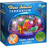 Little Growers Dinosaur Terrarium Kit for Kids with Neon Paint and LED Lights - Plant and Grow Mini Light Up Garden - Science