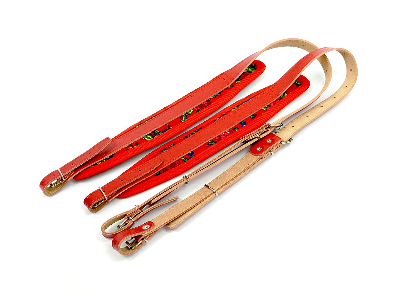 Paire de bretelles courroies en cuir pour accordéon 60-120 rouge, fleurs Belti