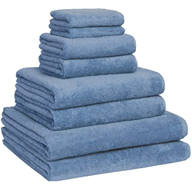 Luxury Extra Large 8-Piece Turkish Towel Set with 4 Bath Towels (30x60 and 24X48) - Blue