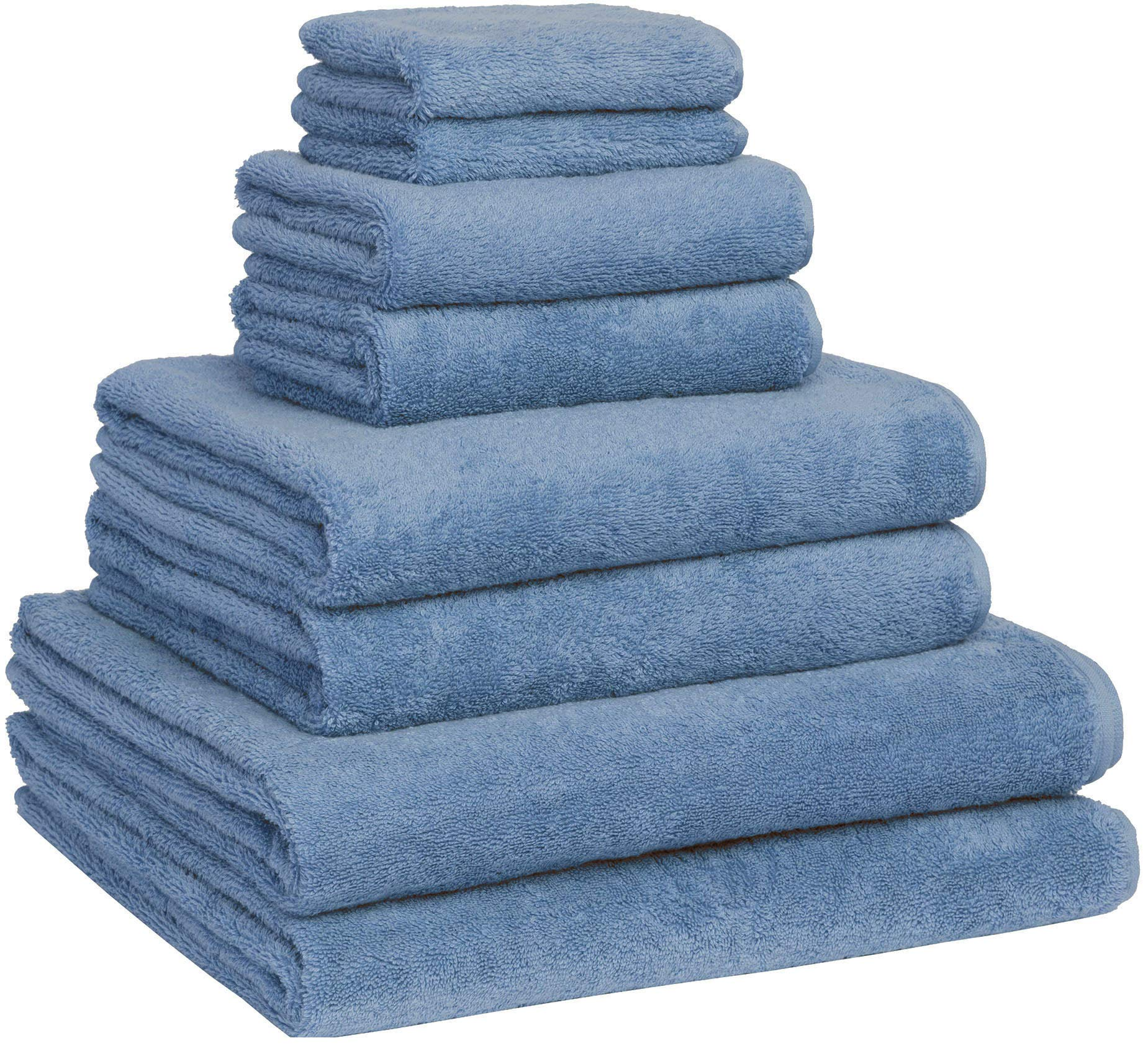 Fast Drying Extra Large Bath Towel Set, Decorative & Luxury Premium Turkish Cotton Towels for Clearance - Spa & Hotel Quality - Pack of 8 Including 2 Oversized Bath Sheets (30x60) - Blue