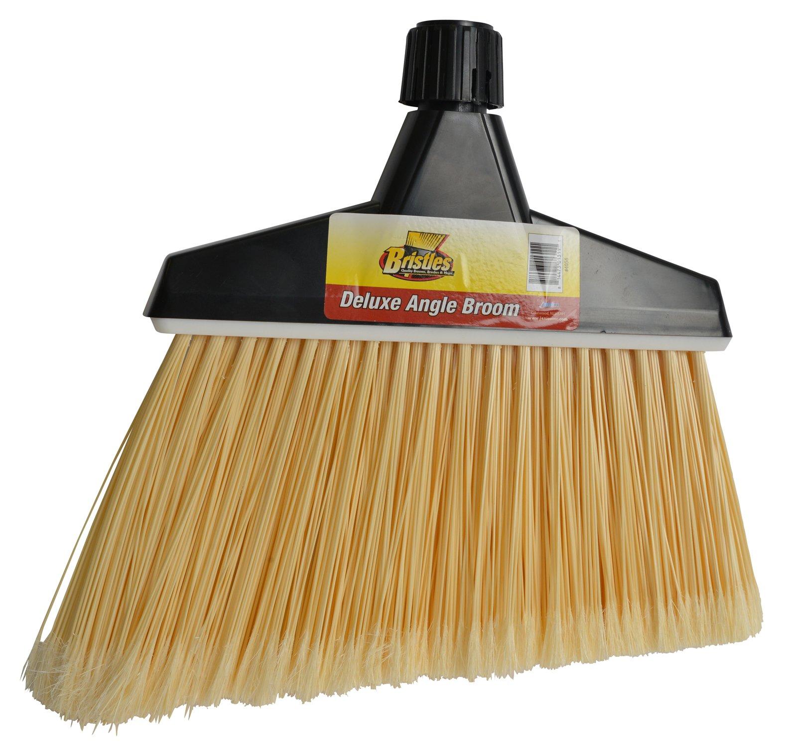 Janico 4056 Bristles Angle Broom, Flagged Bristles, Screw Clamp Metal Handle, Natural