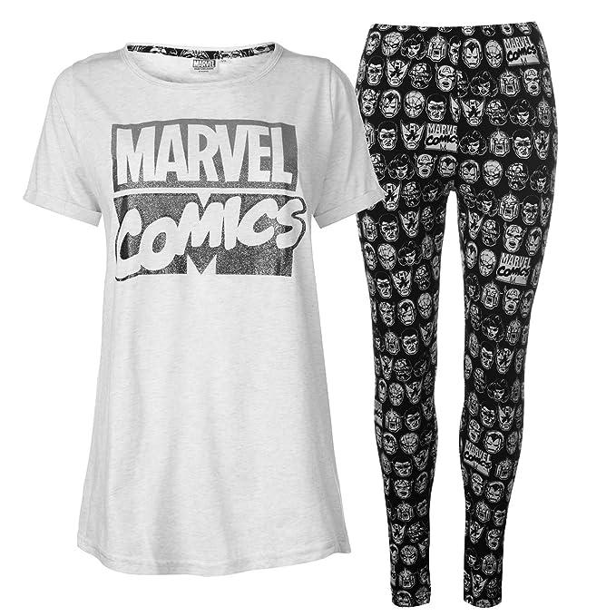 Marvel Comic - Pijama - para mujer Blanco blanco/negro M