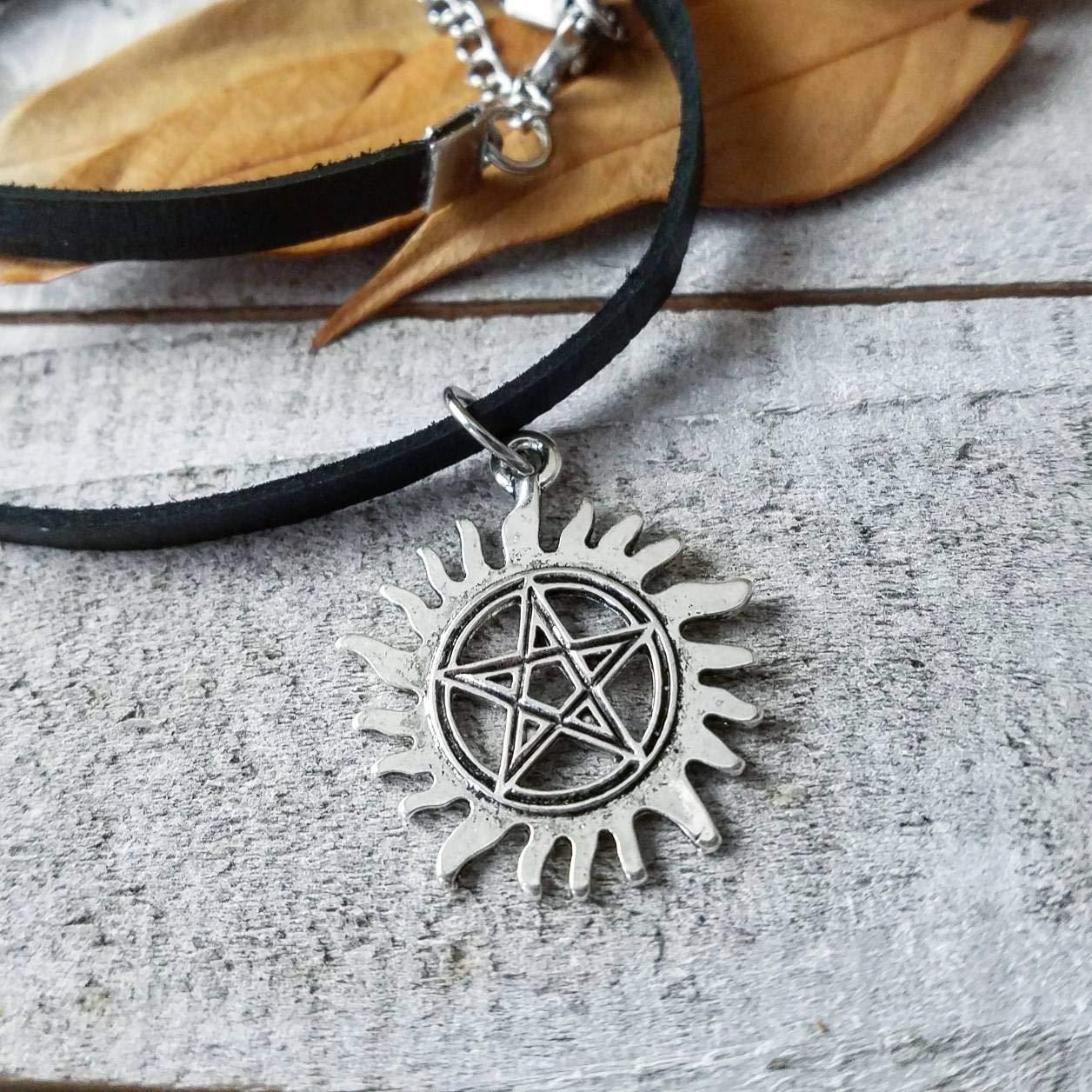 Anti possession sigil Supernatural choker necklace thin black