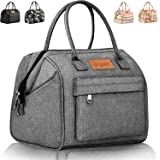 Longzon Insulated Lunch Box Large Lunch Bag, Reusable Cooler Tote Lunch Bag Oxford Cloth Box for Men Women Meal Office School Picnic-Grey
