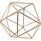 3D Geometric Himmeli Centerpiece & Hanging Ornament, Chrome Plated Metal - 6 Inch Size (Rose Gold)