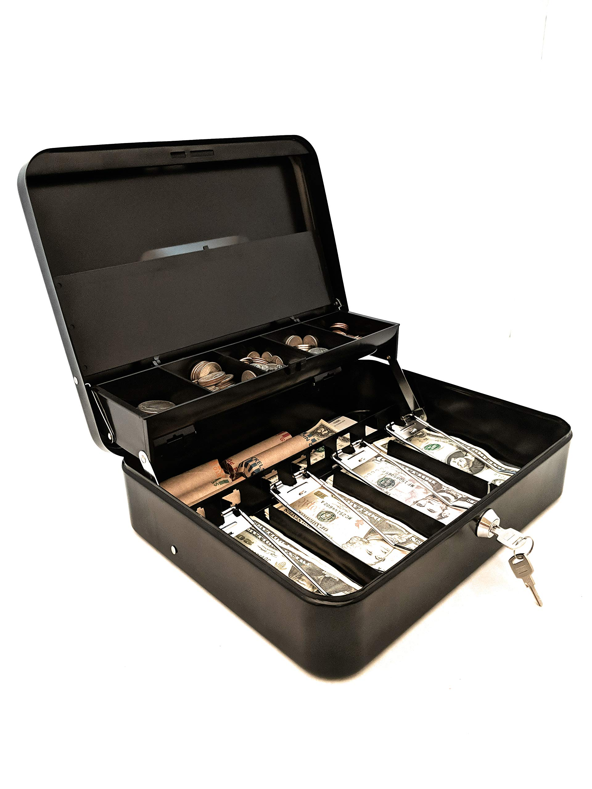 Cash Box   Portable Money Box   Petty Cash   Keyed   Coin Tray with Lid   Extra Storage for Rolled Coins, Checks and Other Valuables