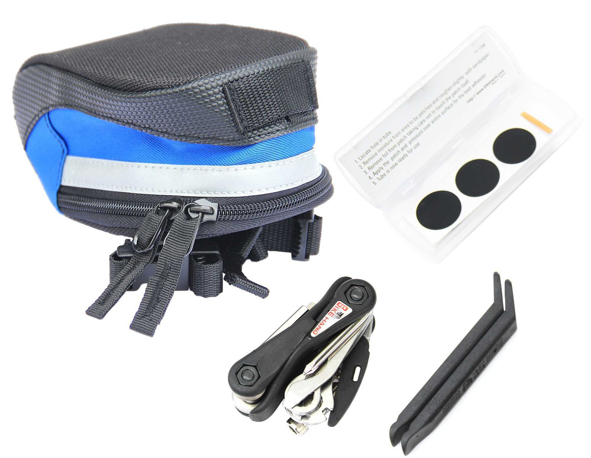Bikehand Bike Bicycle Mini Folding Tool Kit with Saddle Bag