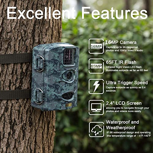 Bestok Trail Game Camera 16MP 1080P Waterproof Hunting Scouting Cam Motion Activated Night Vision 65ft 20m No Glow IR LEDs for Wildlife Monitoring