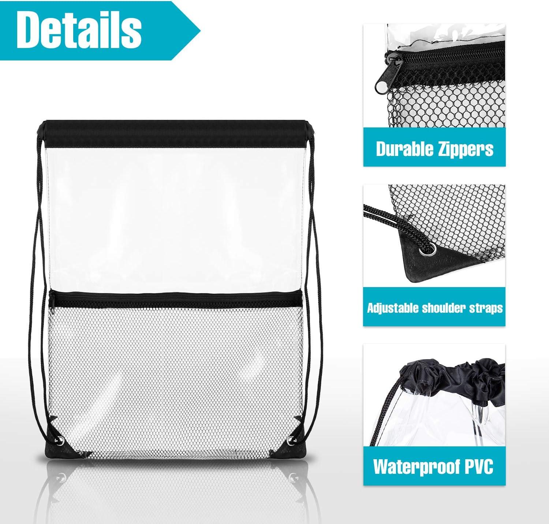 Hugool Clear Drawstring Bag PVC Drawstring Backpack with Front Zipper Mesh Pocket