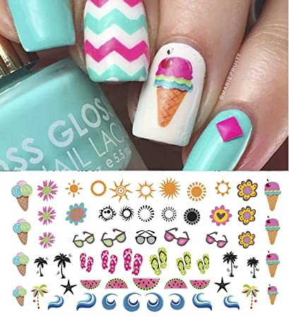 Amazon Summer Time Fun Nail Art Decal Set 1 Ice Cream Flip