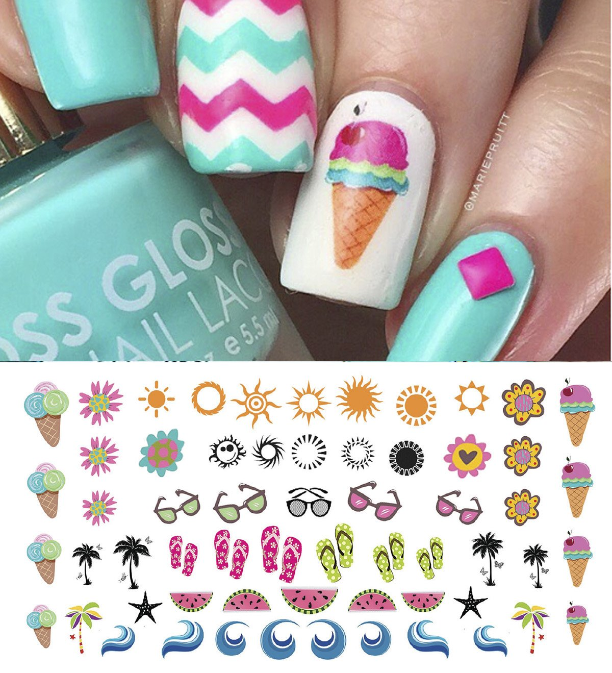 Amazon.com: Spring Fever Nail Art Decals Set #2 - Flowers, Bees ...