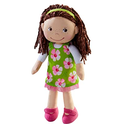 "HABA Coco 12"" Soft Doll with Brown Hair, Embroidered Face, Removable Green Dress and Matching Headband - Machine Washable for Ages 18 Months +: Toys & Games"