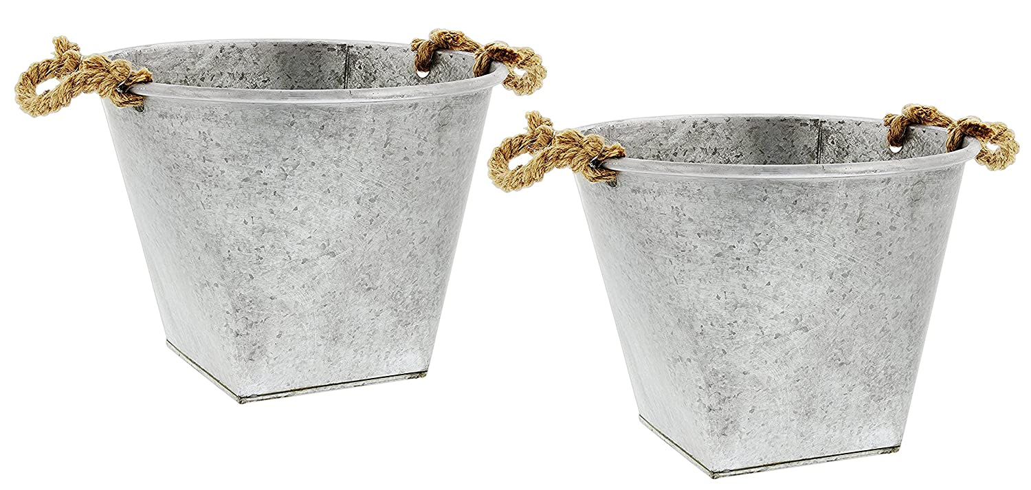 Lucky Winner Set of 2 Galvanized Metal Buckets with Rope Handles 13.5x11