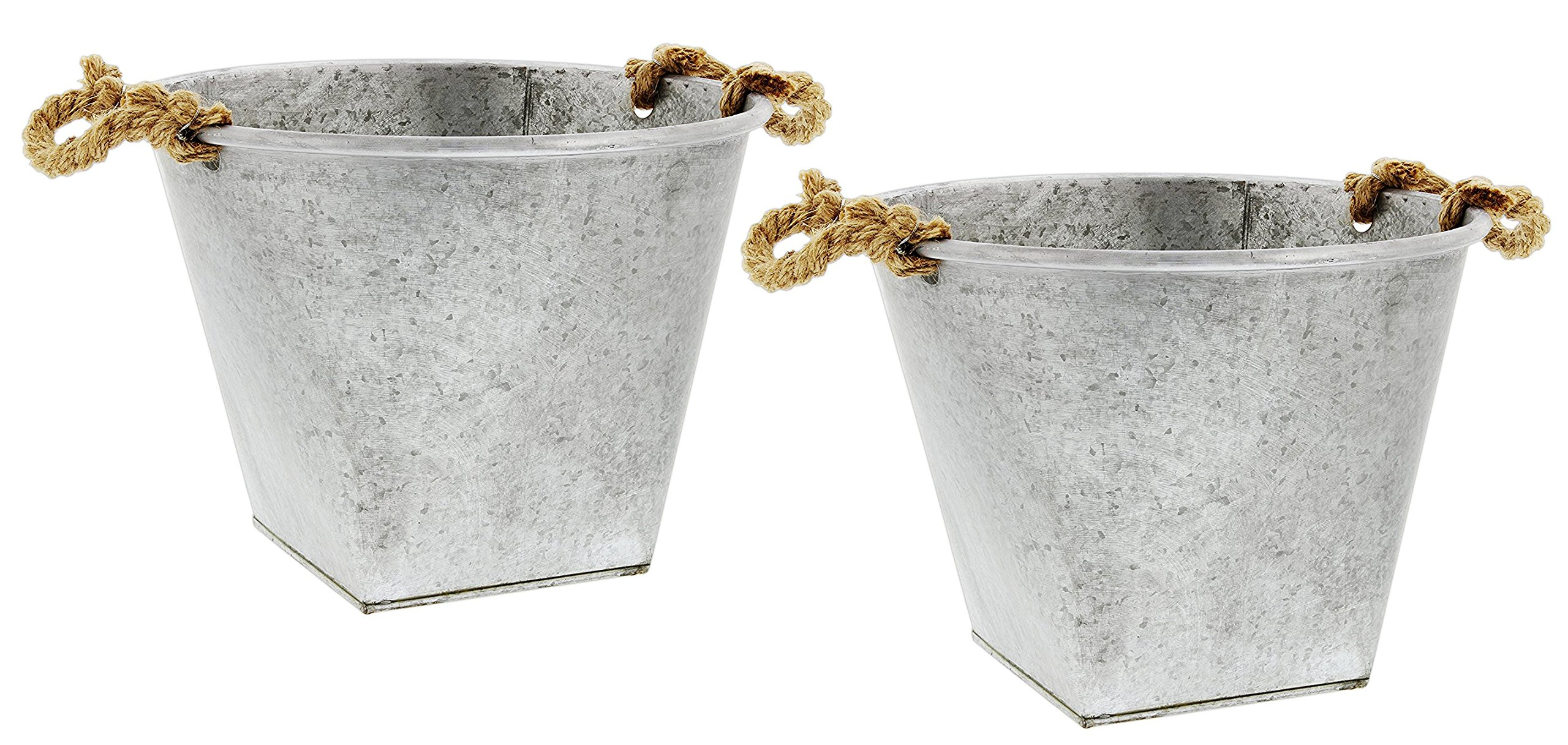 Lucky Winner Set of 2 Galvanized Metal Buckets with Rope Handles 13.5''x11''