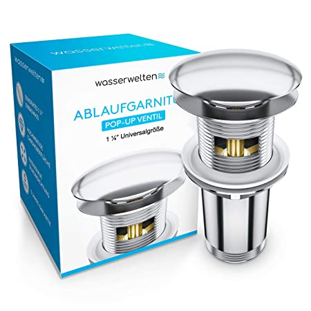Wasserwelten Universal Ablaufgarnitur mit Überlauf für Waschbecken & Waschtisch - Chrom Pop Up Ventil – Ablaufventil Abflussg