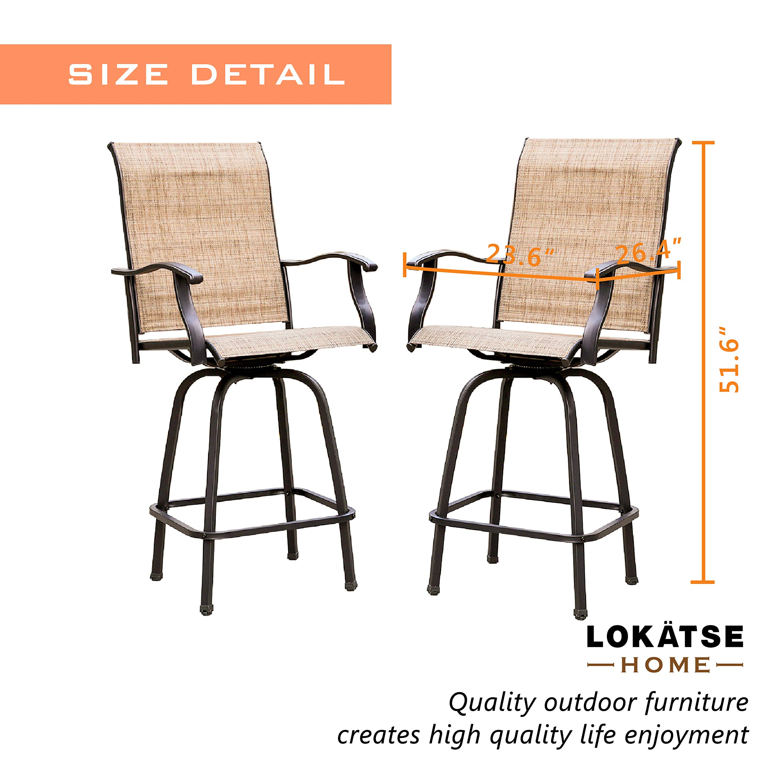 LOKATSE HOME 2 Piece Swivel Bar Stools Outdoor High Patio Chairs Furniture with All Weather Metal Frame, Beige-2chairs by LOKATSE HOME (Image #3)
