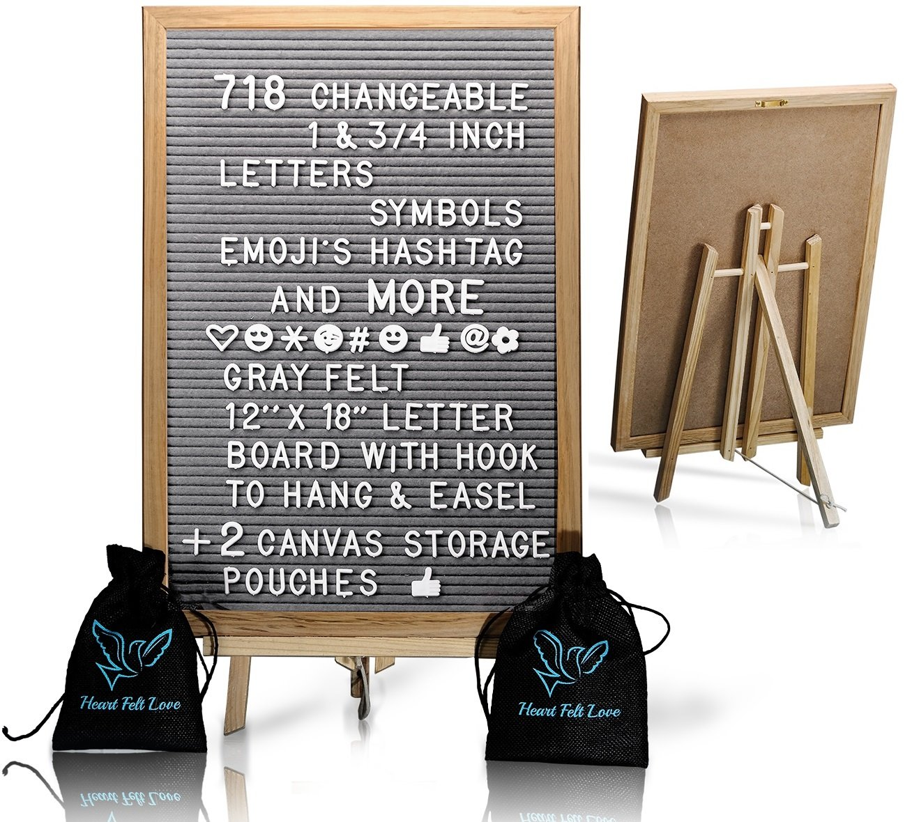 Gray Felt Letter Board With Easel Stand 12 x 18 | 718 Changeable Characters Including 1 inch and ¾ Letters, Symbols, Emojis Hashtag And More | Great For Instagram | Hook To Hang | 2 Storage Pouches