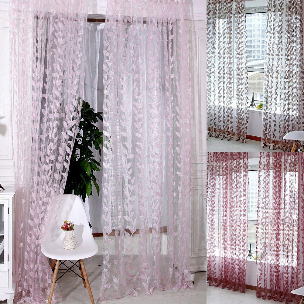 Fenta Romantic Sheer Leaves Printed Door Window Curtain Tulle Scarf Drape Voile Valances