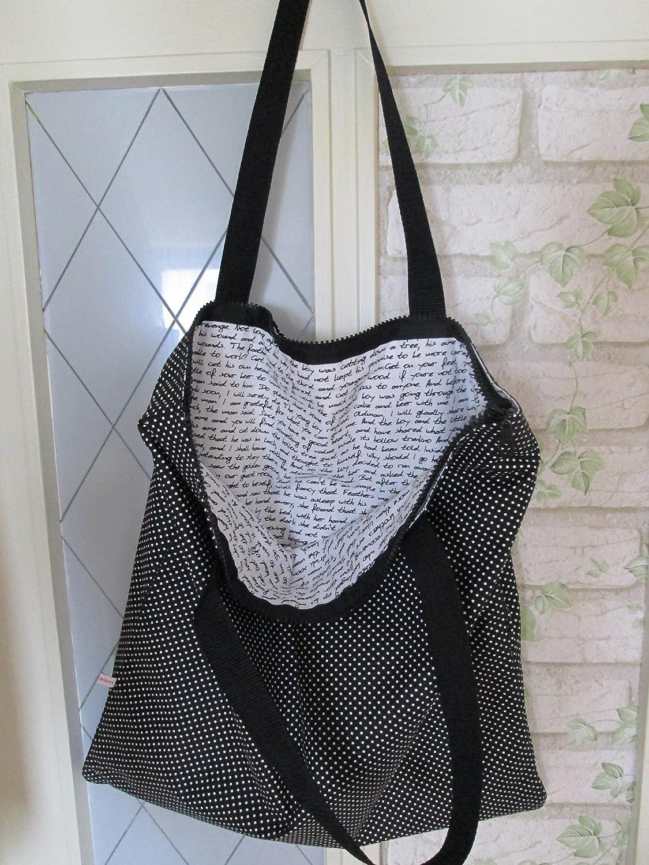 Extrem Tasche Reißverschluss schwarz Pünktchen lange Henkel: Amazon.de  KM83