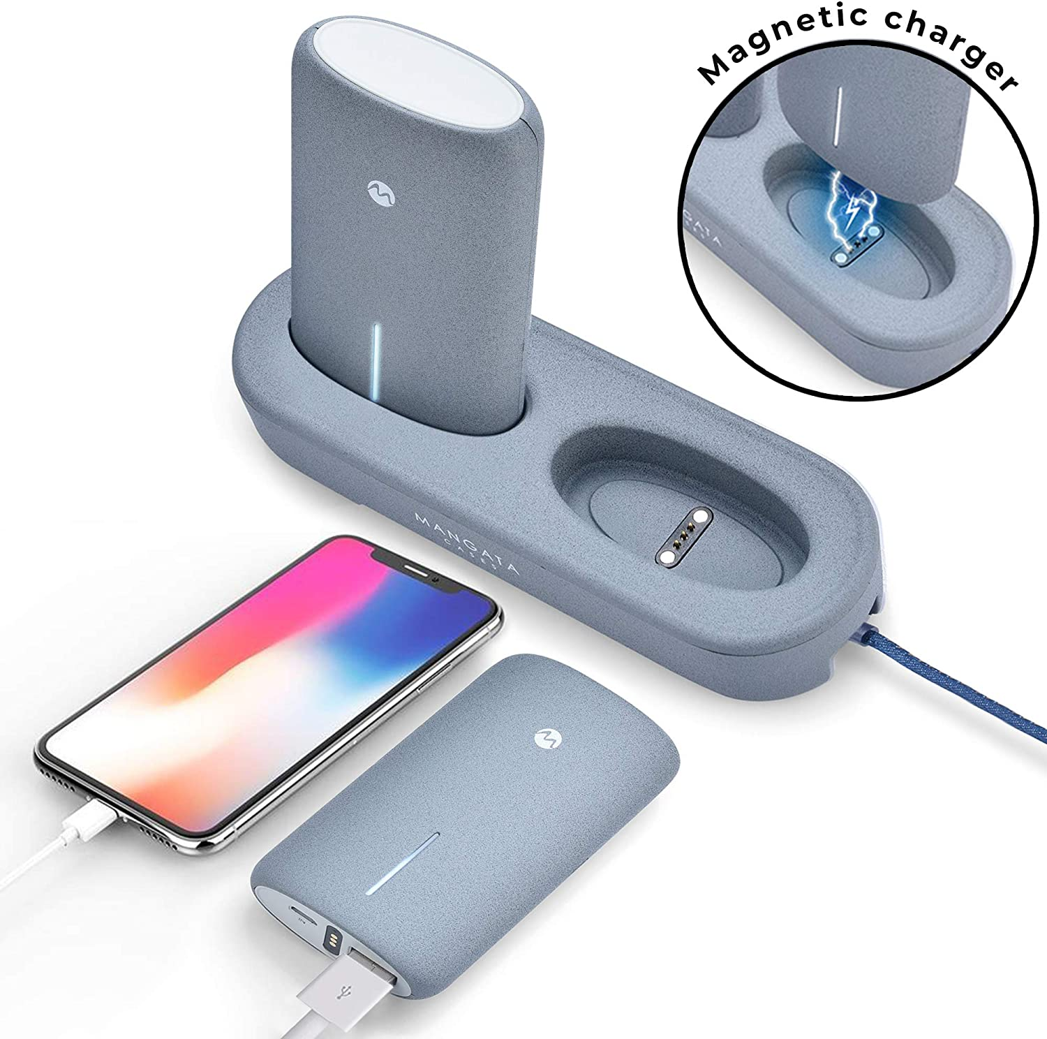 Mangata Orbit [Cordless Power Bank Charging Dock] for Home & Office | 2-Pack 5000 mAh Fast Charge Battery, UL-2056 Certified | Apple, Samsung, iWatch