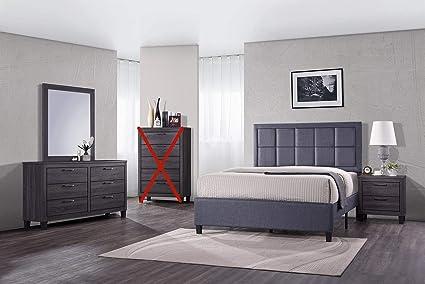 Amazon.com: GTU Furniture Contemporary Styling Modern Grey 4Pc Queen ...