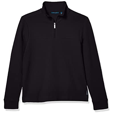 Perry Ellis Men's Ottoman Rib Knit Quarter-Zip Long Sleeve Shirt at Men's Clothing store