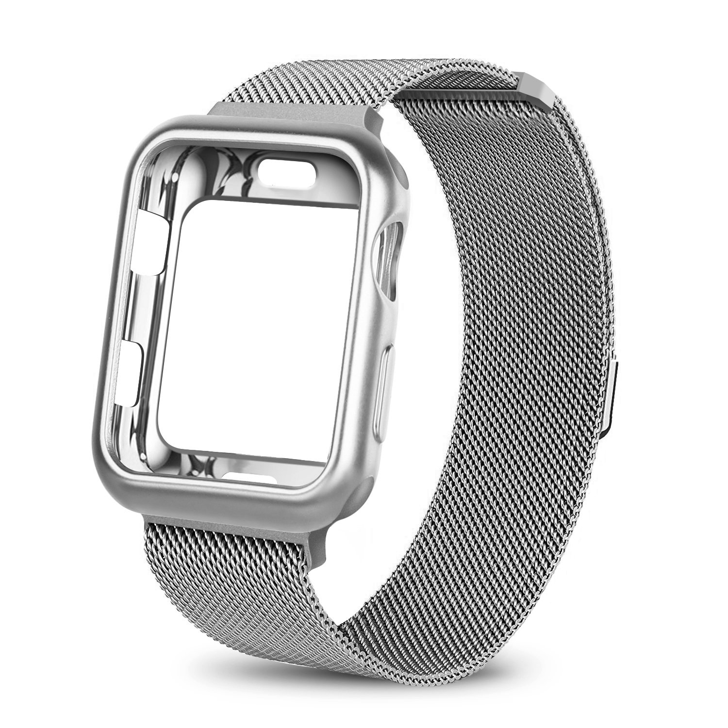 WEFU for Apple Watch Band with Case 38mm 42mm, Stainless Steel Mesh Milanese Loop with Adjustable Magnetic Closure Replacement Wristband iWatch Band for Apple Watch Series 3 2 1(38mm Silver)